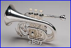 TEMPEST Bb POCKET TRUMPET 3 MONEL VALVES SILVER PLATED BRASS with 5 YEAR WARRANTY