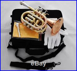 Top Rose Brass Pocket Trumpet Bb Horn 4.842'' Large Bell With Case 2-Mouthpiece