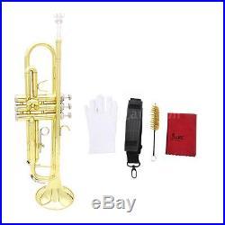 Trumpet Bb B Flat Brass Beginner with Case Accessories Kit Golden E2X0