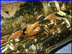 VINTAGE c. 1946 CONN 6M NAKED LADY ALTO SAXOPHONE 1ST GEN. With ROLLED TONE HOLES