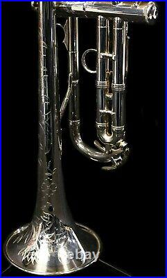 Vintage F. E. Olds Mendez Trumpet Ryan Kisor, Silver Plated with Deluxe Engraving