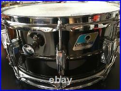 Vintage Ludwig Black Beauty 6.5x14 Blue & Olive Badge Snare Drum