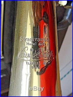 Vintage VINCENT Bach Stradivarius Model 42 Trombone ELKHART, IN. USA WithCASE