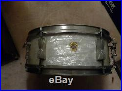 Vintage ludwig 1963 pioneer pearl Keystone Badge 5 x 14 Snare Drum Brass Hoop