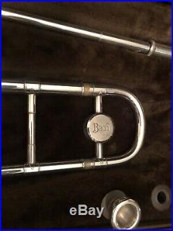 Vtg Bach Stradivarius Model 12 Silver Jazz Slide Trombone w Bach Case